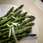 Roasted asparagus with almonds for nutrients and health